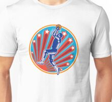 Basketball Player Jump Shot Ball Circle Woodcut retro Unisex T-Shirt