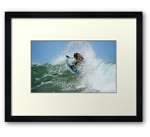 Surfing In A Bubble Framed Print