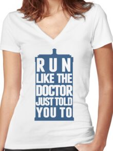 Run like the Doctor just told you to Women's Fitted V-Neck T-Shirt