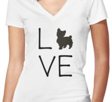 Yorkie Love Women's Fitted V-Neck T-Shirt