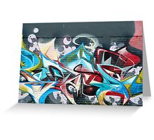 Abstract Graffiti on the brick textured wall Greeting Card