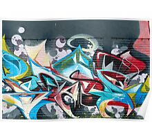 Abstract Graffiti on the brick textured wall Poster