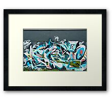 Abstract Graffiti detail on the textured textured wall Framed Print