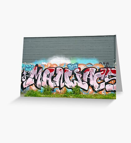 Abstract Graffiti on the textured brick wall Greeting Card