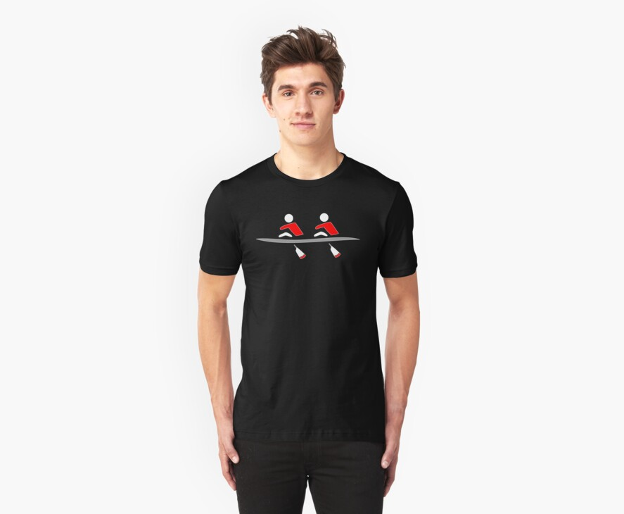 Rowing - double, red & black, dark background by Hawthorn Mineart