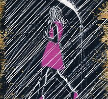Walkin' in the Rain (Pink OSB Edition) Painting by Richard Yeomans