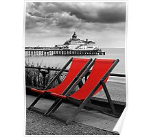 Pier and deckchairs Poster