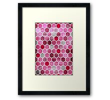 Pink Ink - watercolor hexagon pattern Framed Print
