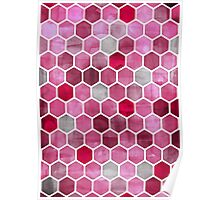 Pink Ink - watercolor hexagon pattern Poster