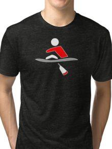 Rowing - single, red & black, dark background Tri-blend T-Shirt
