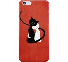 Red White And Black Cats In Love iPhone Case/Skin