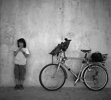 Boy And Bike by Stefan Kutsarov