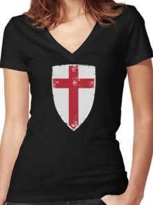 Flag of England Women's Fitted V-Neck T-Shirt
