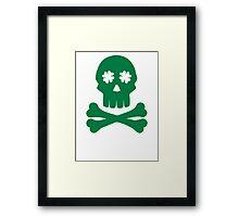 Irish shamrock skull bones Framed Print