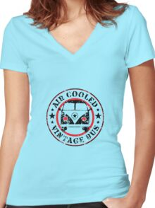 Air Cooled VW Bus Women's Fitted V-Neck T-Shirt