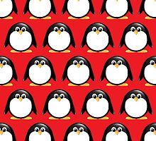 Penguin pattern red background by majuli1990