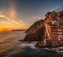 Riomaggiore Sunset Rolling Waves by mikereid