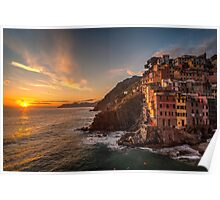 Riomaggiore Sunset Rolling Waves Poster