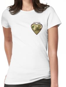 burning heart wtxt Womens Fitted T-Shirt