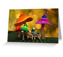 Whimsical Mushrooms and Ribbits The Frog Greeting Card
