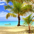 Moorea Beach, Boats and Palms by Honor Kyne