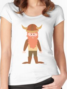 Cartoon Viking Women's Fitted Scoop T-Shirt