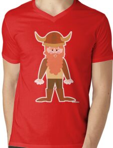 Cartoon Viking Mens V-Neck T-Shirt
