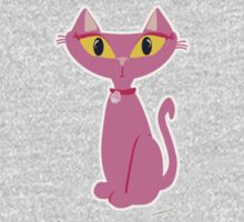 Sassy Pink Retro Cat Kids Clothes