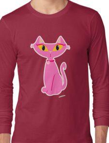 Sassy Pink Retro Cat Long Sleeve T-Shirt