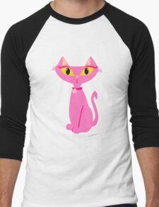 Sassy Pink Retro Cat Men's Baseball ¾ T-Shirt
