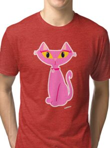 Sassy Pink Retro Cat Tri-blend T-Shirt