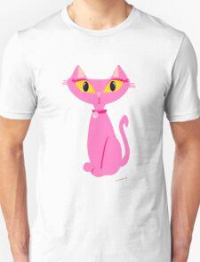 Sassy Pink Retro Cat Unisex T-Shirt
