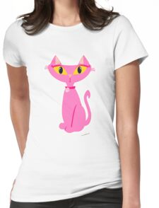 Sassy Pink Retro Cat Womens Fitted T-Shirt