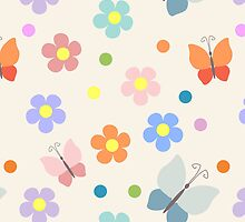 Colorful flowers and butterflies pattern by majuli1990