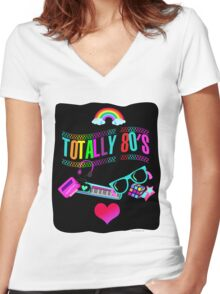 Totally 80's Fun Neon Women's Fitted V-Neck T-Shirt