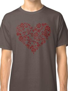 Red Floral Heart Classic T-Shirt