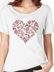 Red Floral Heart Women's Relaxed Fit T-Shirt