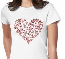 Red Floral Heart Womens Fitted T-Shirt