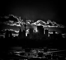 Toronto Canada Skyline At Sunset From The Pape St Bridge by Brian Carson