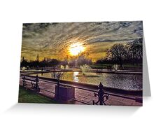 Fountains at sunset  Greeting Card