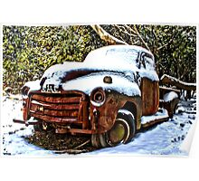 Snow covered GMC Poster