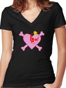 Punk Skull Heart and Bones Women's Fitted V-Neck T-Shirt
