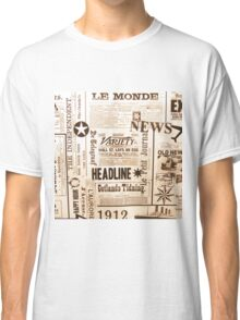 A vintage old news paper print typography  Classic T-Shirt