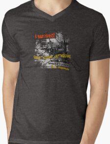 I SURVIVED GREAT ALASKA EARTHQUAKE W/ AK SILHOUETTE Mens V-Neck T-Shirt