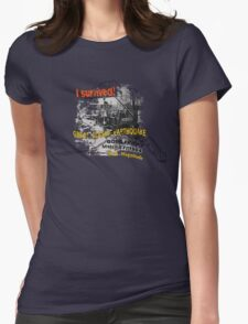 I SURVIVED GREAT ALASKA EARTHQUAKE W/ AK SILHOUETTE Womens Fitted T-Shirt