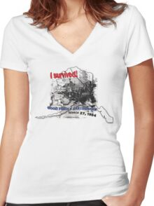 I SURVIVED GOOD FRIDAY EARTHQUAKE W/ AK SILHOUETTE Women's Fitted V-Neck T-Shirt