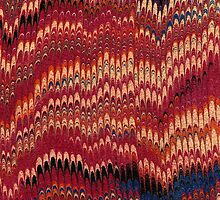 Antique Marbled Paper Red Yellow by Pixelchicken
