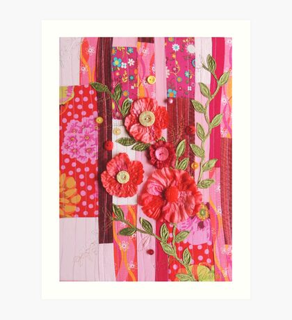 Textile wall art Red roses, patchwork fabric Art Print