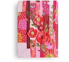 Textile wall art Red roses, patchwork fabric Canvas Print