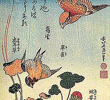 'Wild Strawberries and Birds' by Katsushika Hokusai (Reproduction)  by Roz Abellera